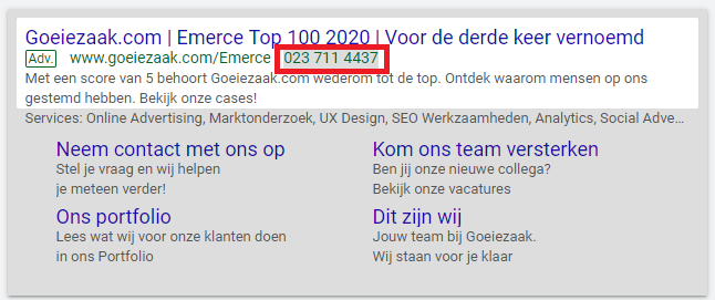 Google Ads extensies oproep toepassen op desktop