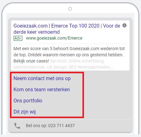 Google Ads extensies sitelinks toepassen voor mobiel