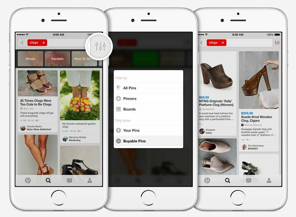 Pinterest categorie filter voor shoppen