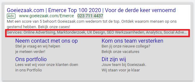 Google Ads extensies website informatie toepassen