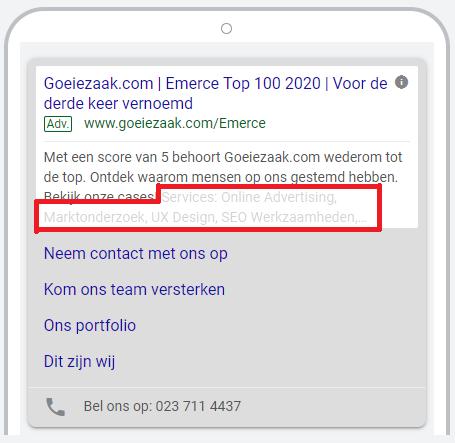 Google Ads extensies website informatie toepassen op mobiel