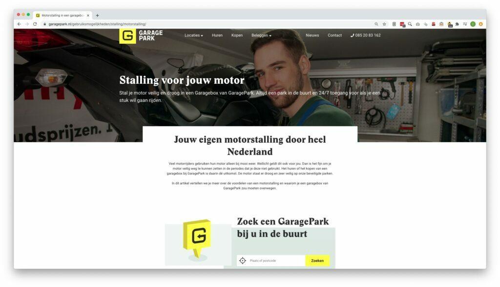 garage parken webdesign goeiezaak