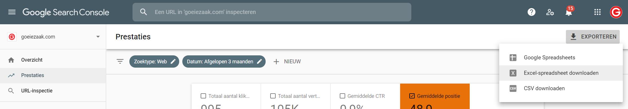 Google Search Console Excel spreadsheet downloaden