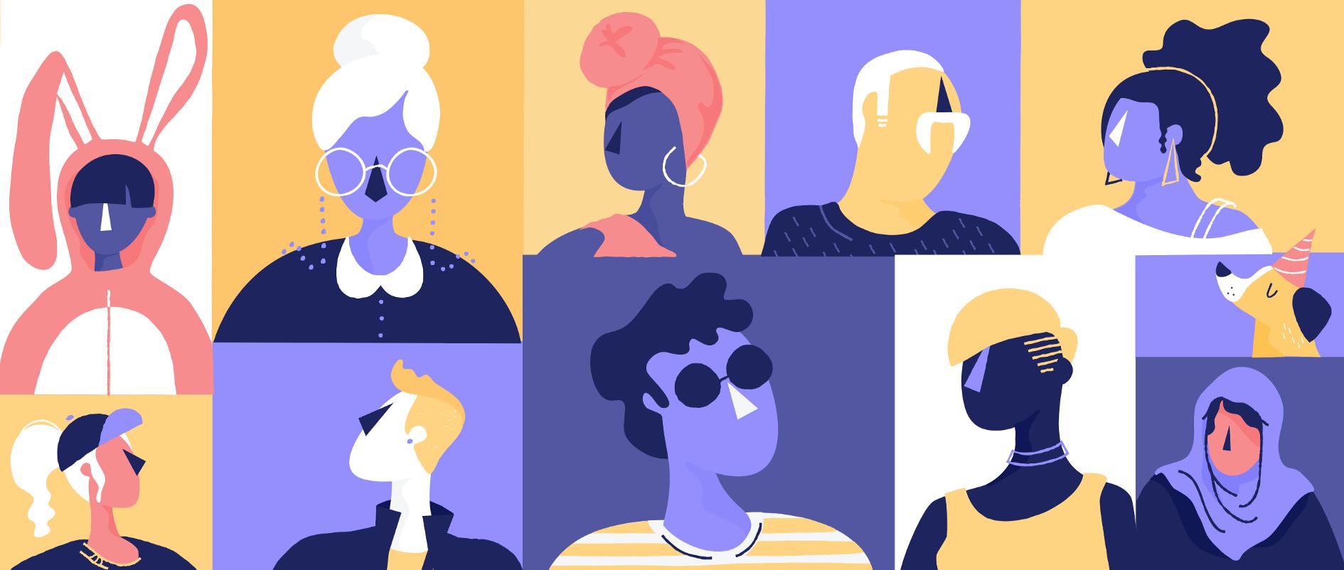 Omdat illustraties zo abstract zijn, kunnen de personages alle vormen en kleuren aannemen