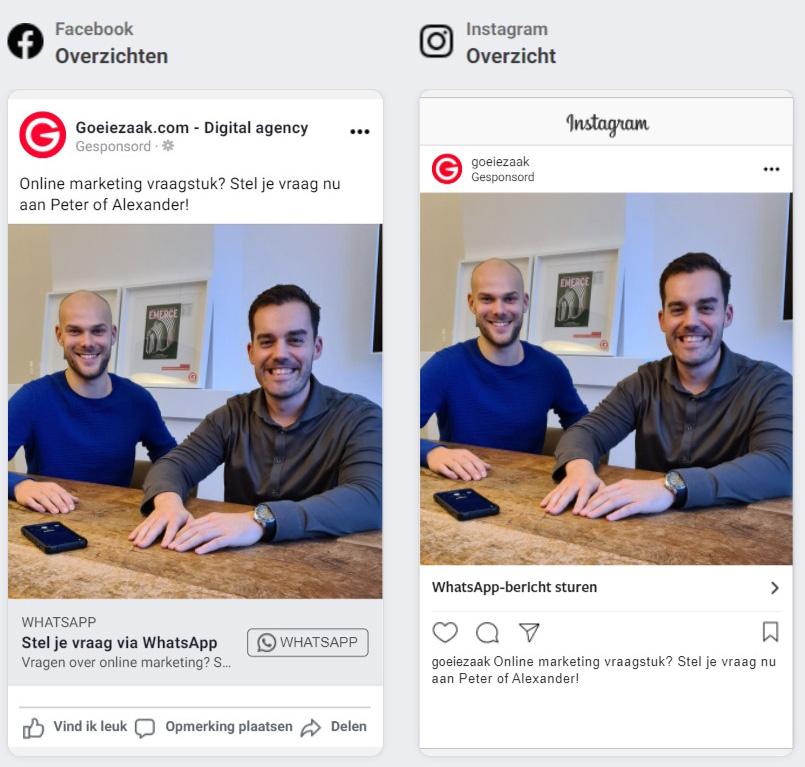 Mockup Whatsapp advertentie op Facebook en Instagram voor Goeiezaak