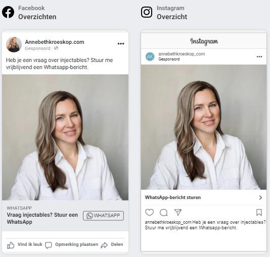 Mockup Whatsapp advertentie op Facebook en Instagram voor Goeiezaak cosmetisch arts