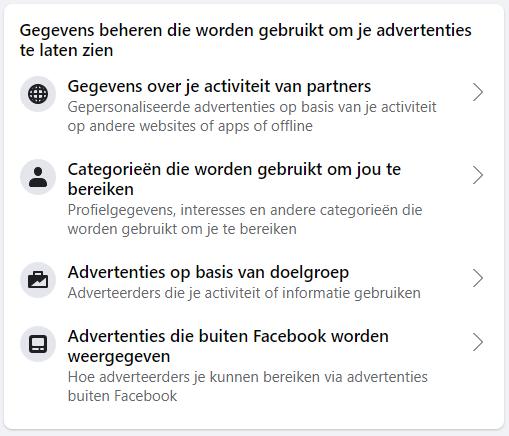 Facebook categorieën