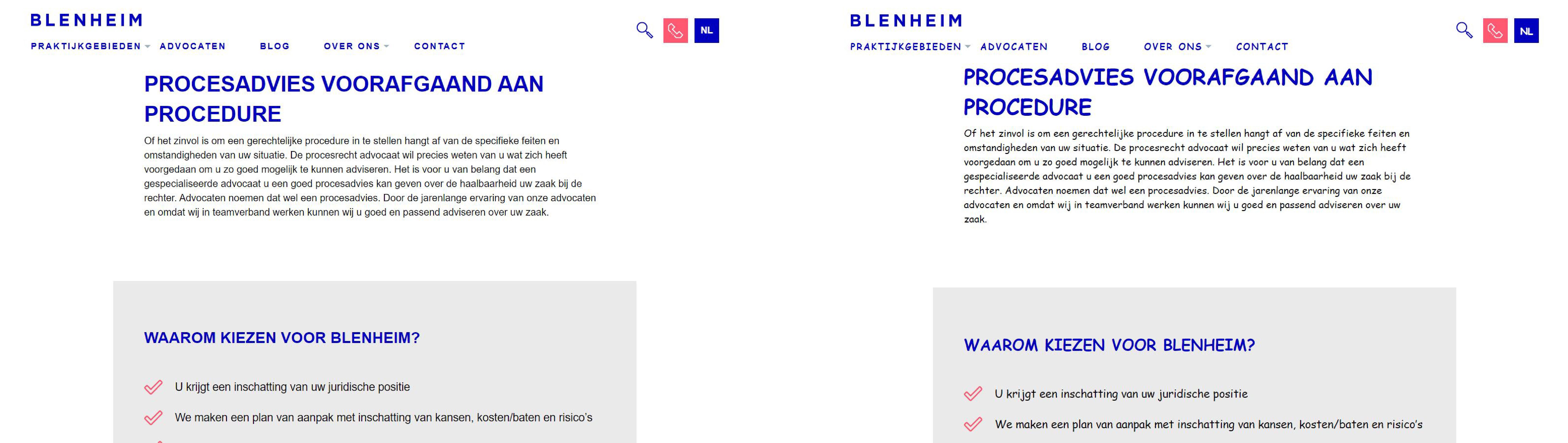 Verschil in typografie